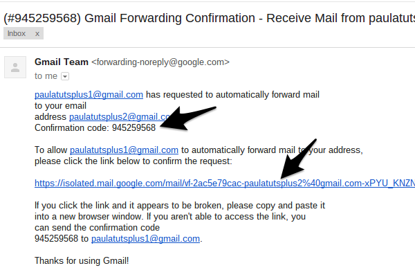 how to connect one gmail account to another