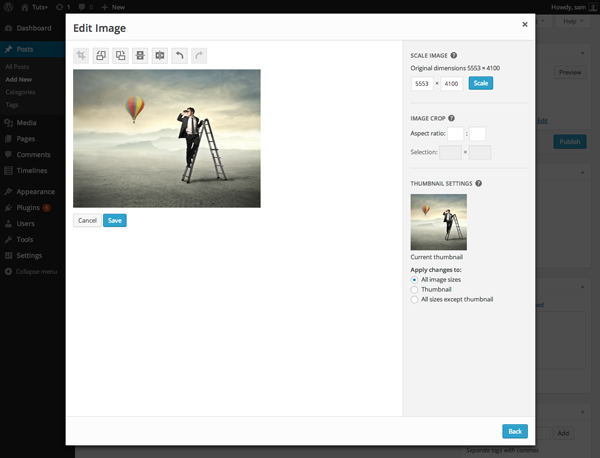 Easier image editing in wordpress 3.9