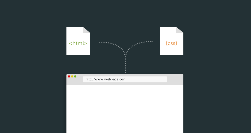 Diagram of CSS and HTML being read by a web browser