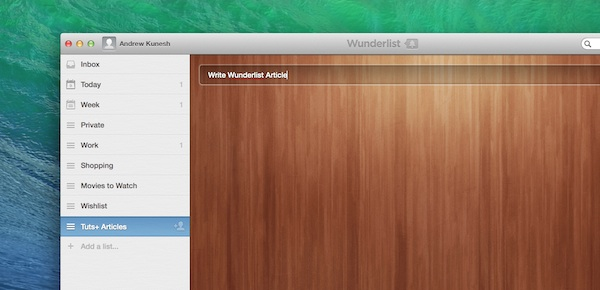 Adding an item to a Wunderlist list