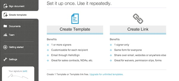 Choosing to create a template or link