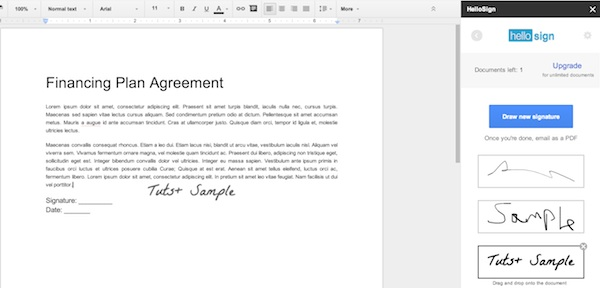Signing documents in Google Docs