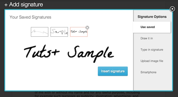 Selecting a saved signature