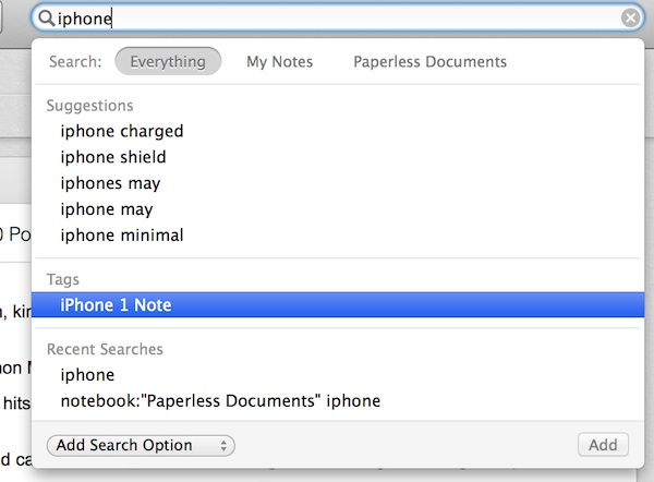 Tag search in Evernote