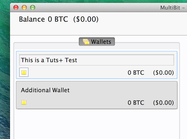 Viewing your wallet list in MultiBit