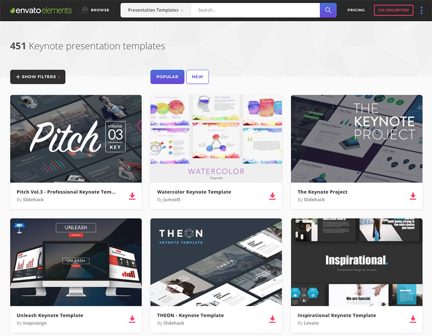 Best Keynote presentation design templates on Envato Elements