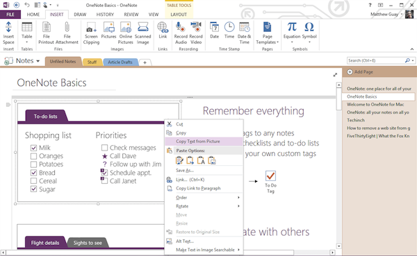 OneNote on Windows