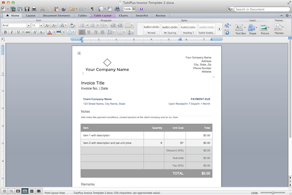 An invoice in Word