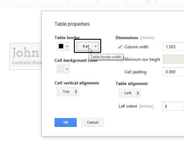 Setting A Table Border To 0 Pt To Make It Invisible  How To Make A Resume In Google Docs