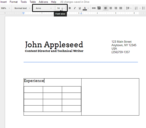 how to fix size of table cells in google docs