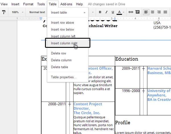 create an eye-catching resume in google docs