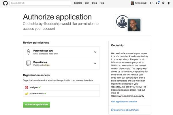 Codeship Authorize with Github