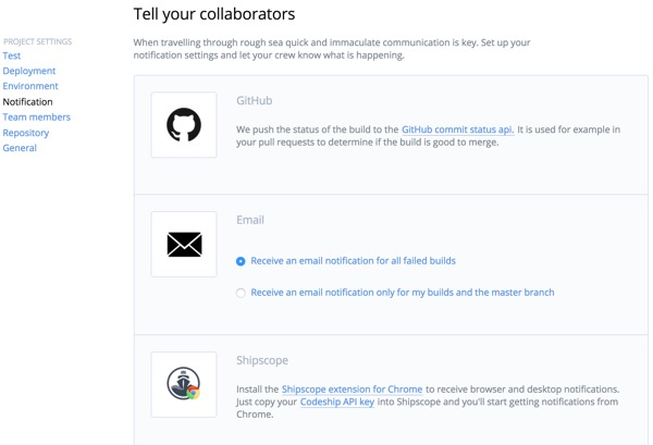 Codeship Collaborators for Notifications
