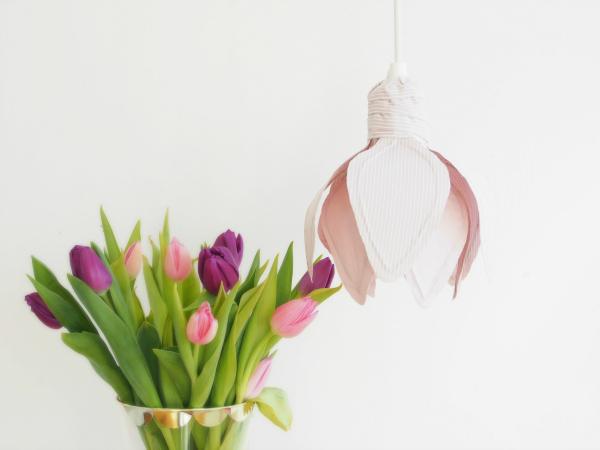 Tự chế chụp đèn hoa tuylip từ vải sợi - 20