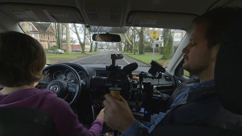 Using a gimbal in a car