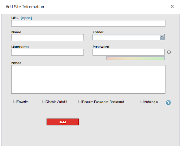 Add a site manually to LastPass
