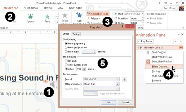 Additional audio controls in a dialog box in Windows