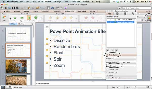 Applying audio to an animated object on the Mac