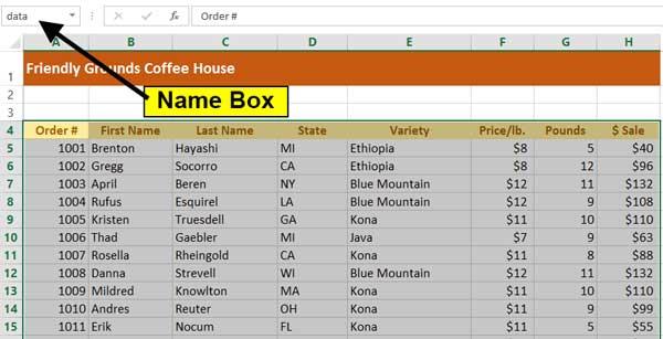 Name box displaying a range name