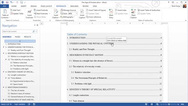 table of contents with automatic hyperlinks