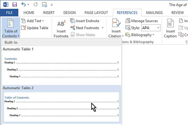 Choosing a built-in table of contents