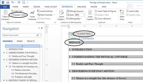 table of contents after editing document text