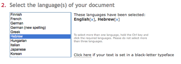 ABBYY FineReader Online supports OCR for up to three languages in a single document
