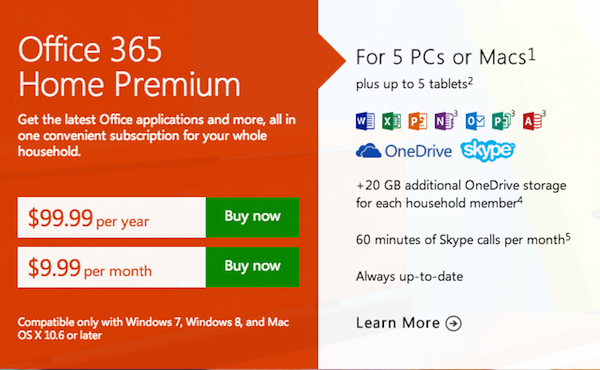 Buy Microsoft Office 365 Home & Personal subscriptions