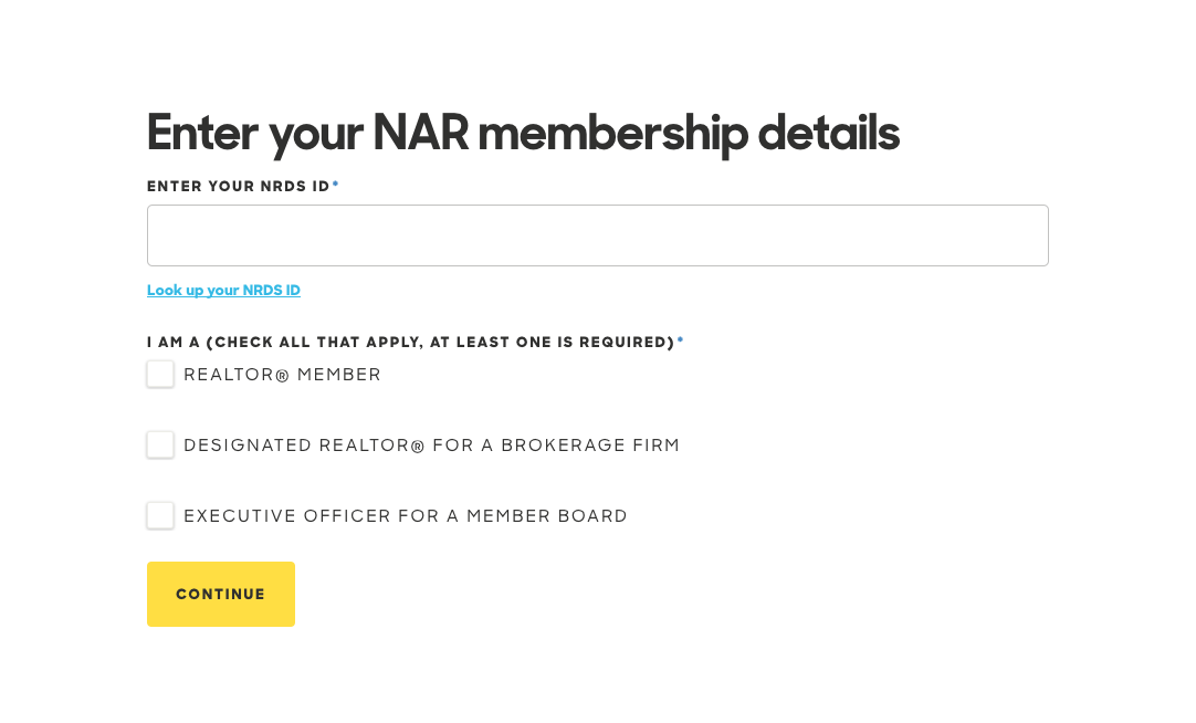 Enter your NAR membership details