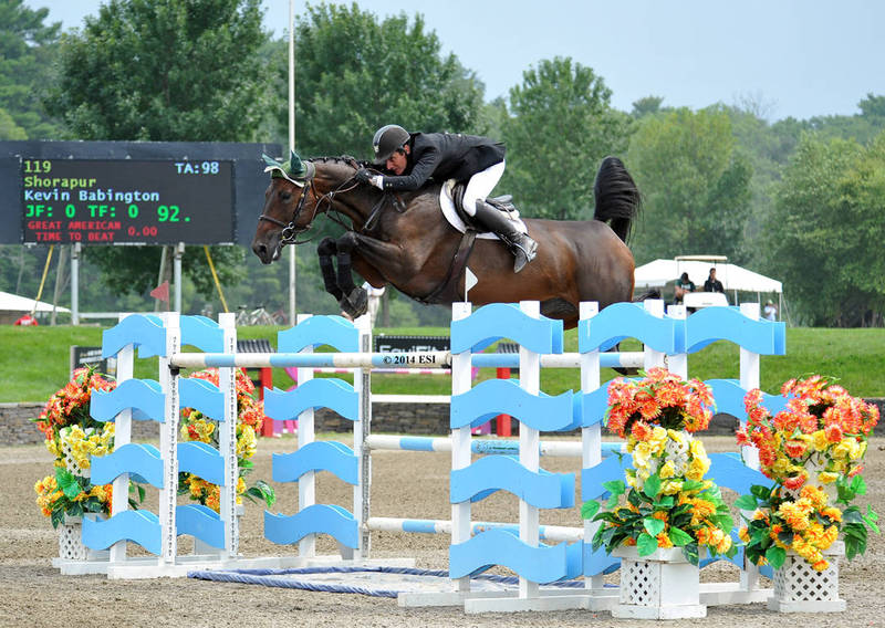 Kevin Babington and Shorapur jump to a win in Friday's $25,000 SmartPak Grand Prix presented by Zoetis at HITS Saugerties.