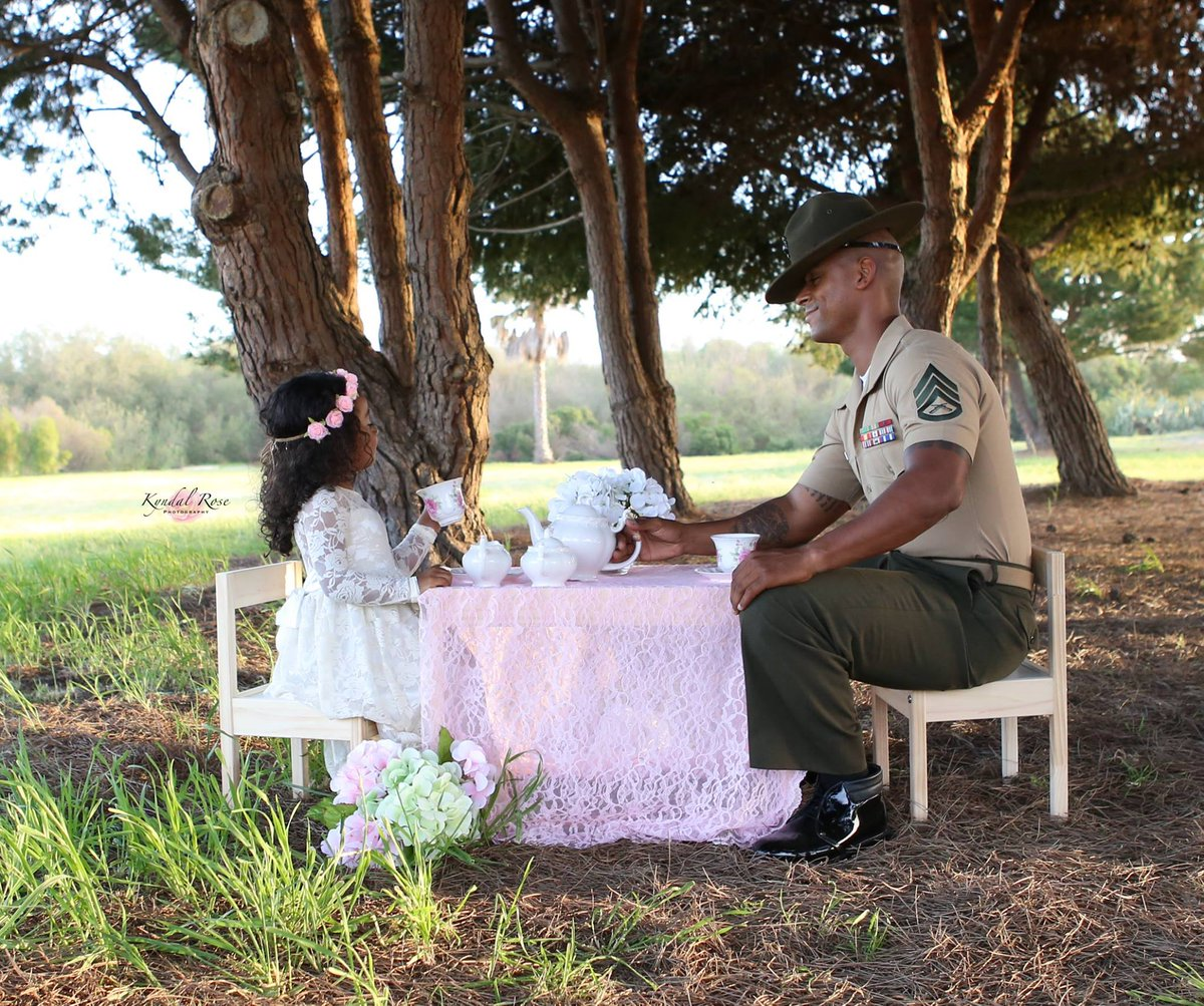Adorable Marine Corps Drill Instructor Sips Tea At His