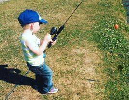 Hunter, boy he loves to fish!