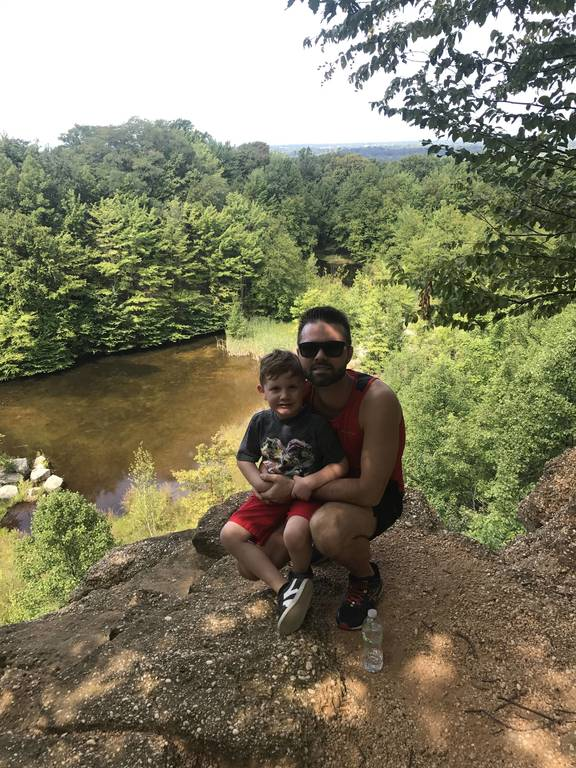 Zack and Chase hiking in Cleveland