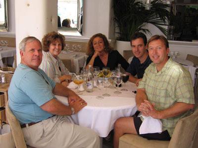 Henry and Christie Metz, Marieta Salas, Scott Bailey, & David Cains all enjoying a wonderful lunch in beautiful St. Tropez (Sep 2005).