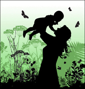 happy mother and child in the woods