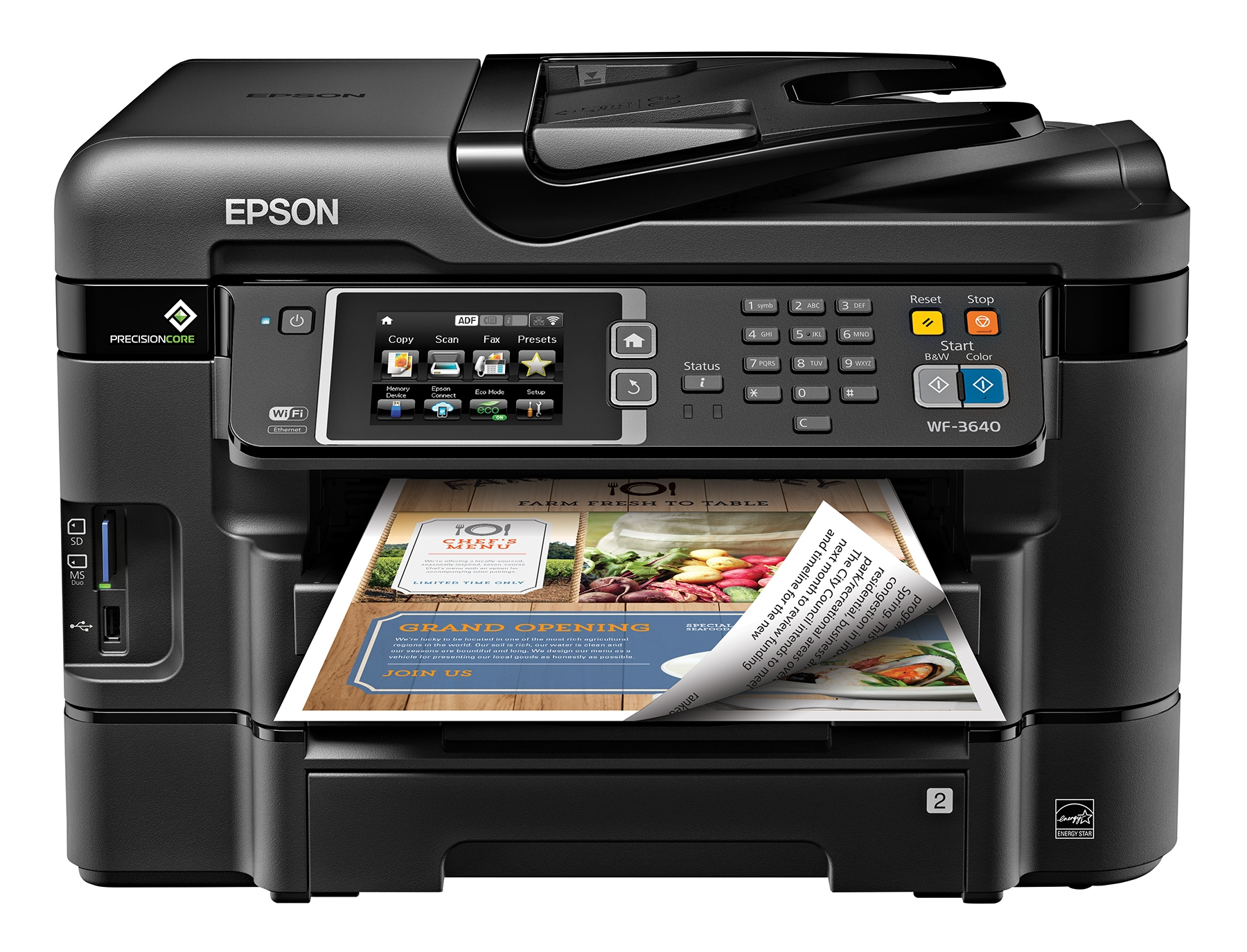 WorkForce WF-3640_Head On w/print sample