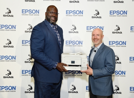 Epson July 9 Media Event_Keith Kratzberg and Shaquille ONeal with EcoTank_Image