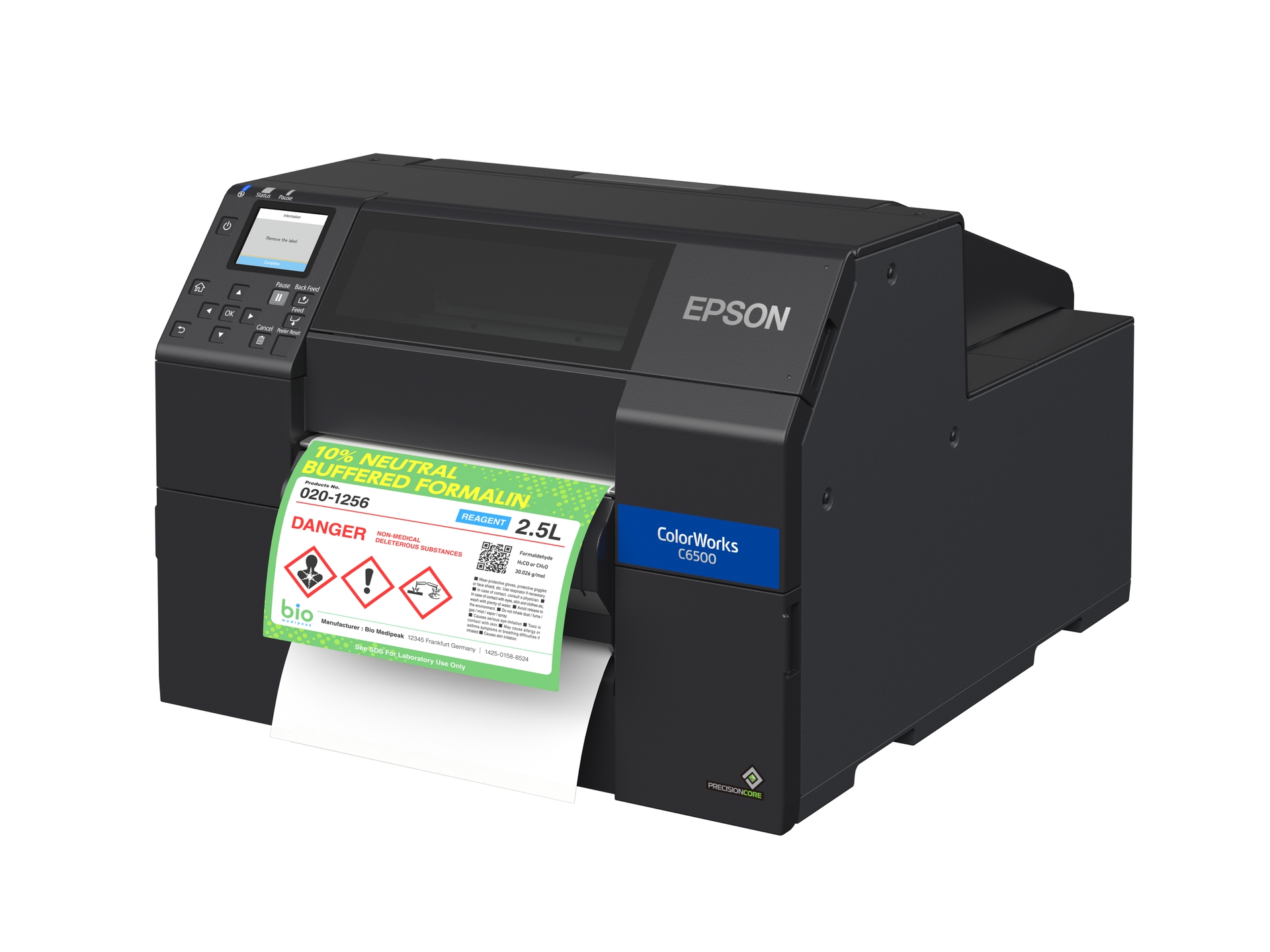 Epson ColorWorks C6500P 8-inch Color Inkjet Label Printer with Peel-and-Present