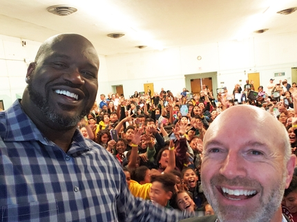 Shaquille ONeal and Keith Kratzberg Selfie_Daniel Webster Middle School CISLA Event 20191011