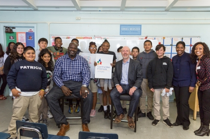 Shaquille ONeal and Keith Kratzberg with Daniel Webster Middle School Students_CISLA Event 20191011