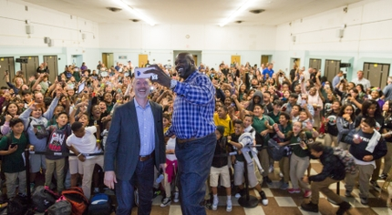 Shaquille ONeal and Keith Kratzberg Wide Selfie_Daniel Webster Middle School CISLA Event 20191011