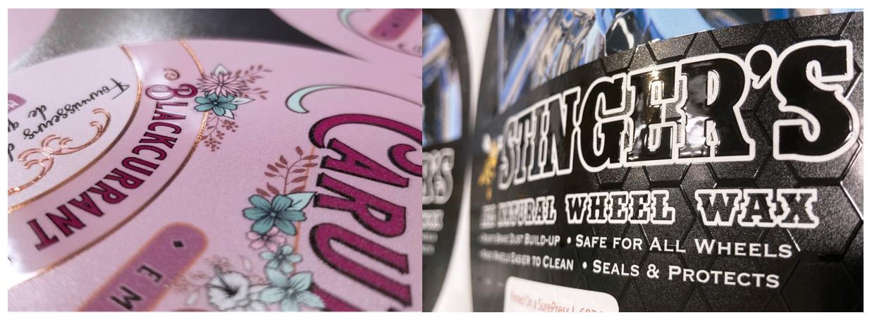 Digital Varnish Labels Printed on Epson SurePress