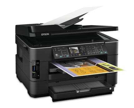 Epson WorkForce WF-7520 All-in-One Printer right open tray angle
