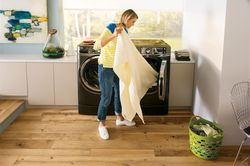 GE® RightHeight™ Design frontload washer and dryer