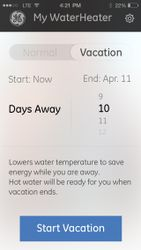 Water heater app—vacation mode