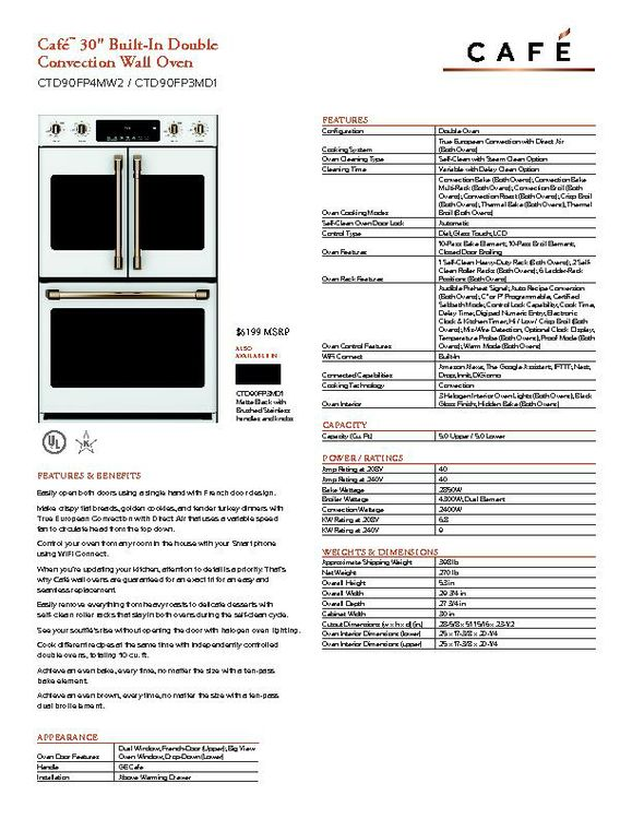 CTD90FP4MW2 - Wall oven - $6199