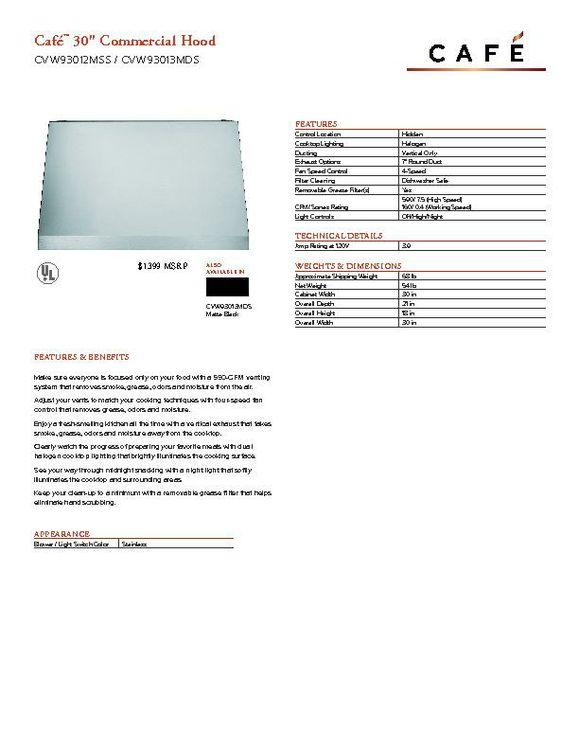 CVW93014MWM - Hood - $1399