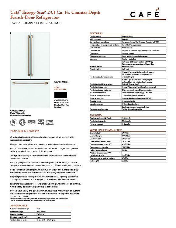 CWE23SP4MW2 - Refrigerator - $3299
