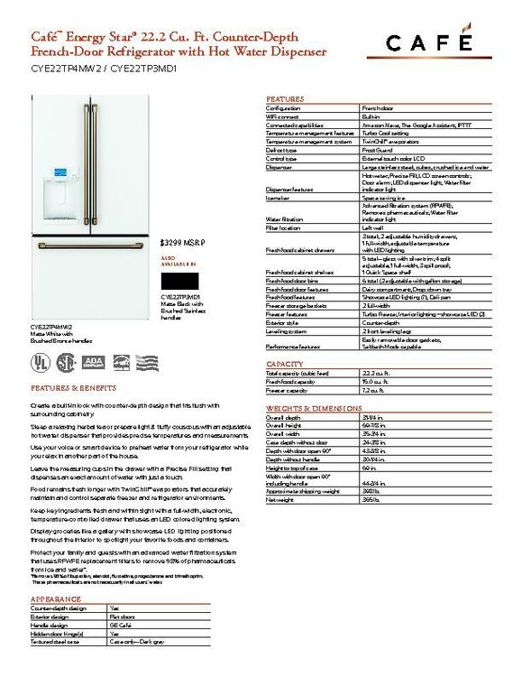CYE22TP3MD1 - Refrigerator - $3299