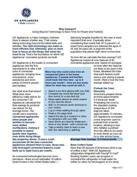 Connected Appliances Deliver Efficiencies Release